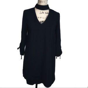 📁Zara Navy A-line Collar V Neck Dress 3/4 Slv XS